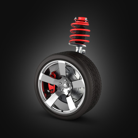 suspension of the car with wheel perspective view on black gradient background 3d