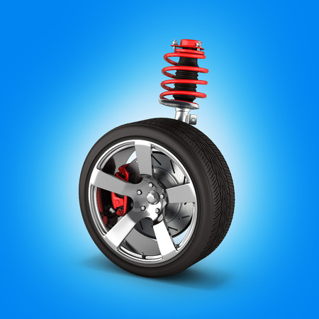 suspension of the car with wheel perspective view on blue gradient background 3d