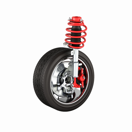 undercarriage: suspension of the car with wheel without shadow on white background 3d Stock Photo