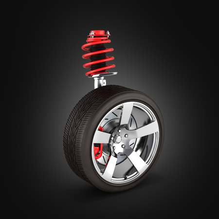 suspension of the car with wheel perspective view on black background 3d Stock Photo