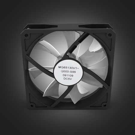 heat sink: computer cooler isolated on black gradient background 3d
