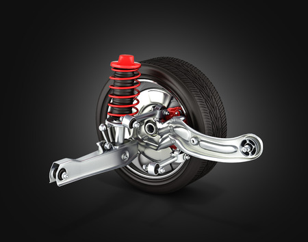 axle: suspension of the car with wheel on black background 3d Stock Photo
