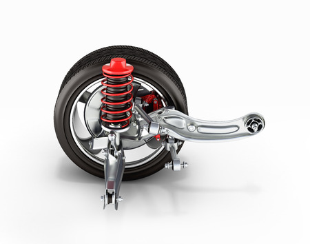 axle: suspension of the car with wheel side view 3d