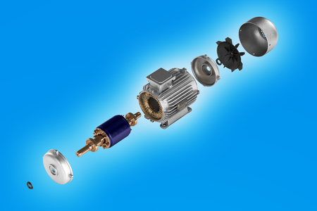 Electric motor in detail on blue background 3d