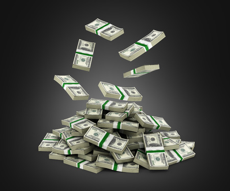 Stack of money american dollar bills falling into a pile on black background 3d