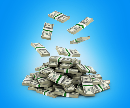 hundreds: Stack of money american dollar bills falling into a pile on blue background 3d