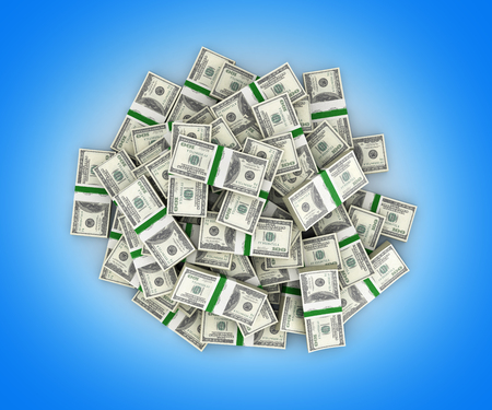 hundreds and thousands: big pile of money american dollar bills on blue background 3d