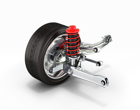 suspension of the car with wheel perspective view on white background 3d