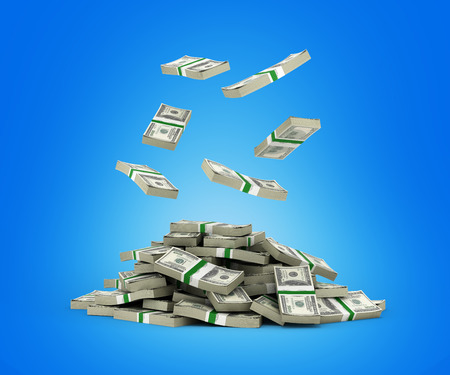 hundreds and thousands: Stack of money american dollar bills falling into a pile on blue background 3d render