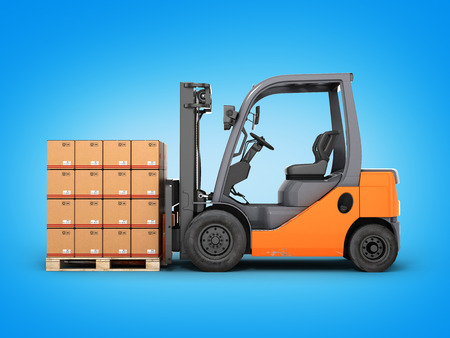 Forklift truck with boxes on pallet on blue gradient background 3d