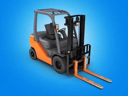Forklift loader perspective view on blue background 3D