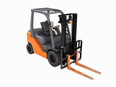 Forklift loader perspective view without shadow on white background 3D Stock Photo