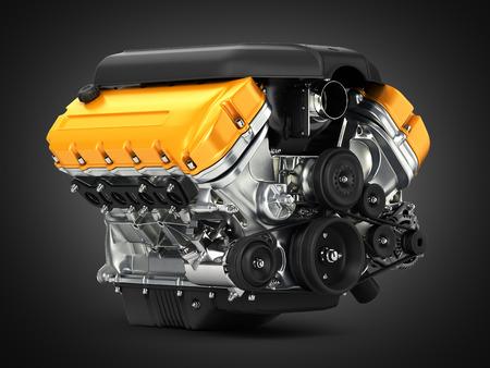 Automotive engine perspective view on black gradient background 3D