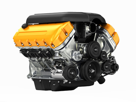 Automotive engine perspective view without shadow 3D
