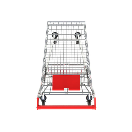 supermarket shopping cart top view without shadow on white background 3d Stock Photo