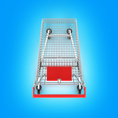 supermarket shopping cart top view on blue gradient background 3d