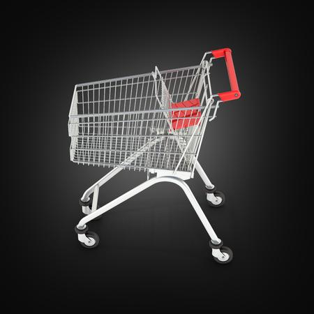 supermarket shopping cart on black background 3d