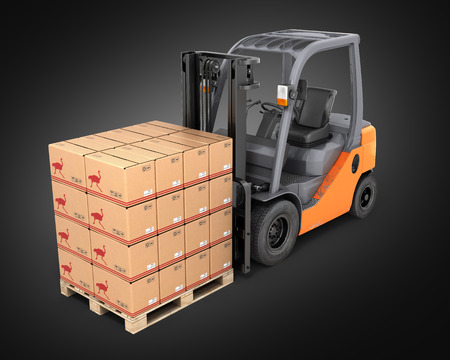 fork lifts trucks: Forklift truck with boxes on pallet perspective view on black background 3d