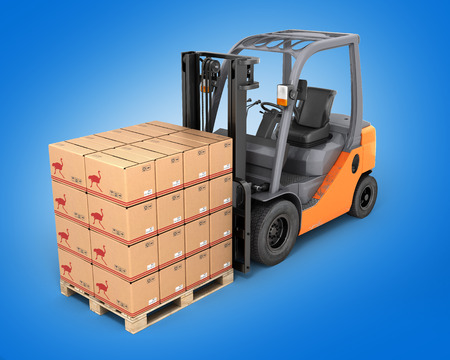 hydraulic lift: Forklift truck with boxes on pallet perspective view on blue background 3d Stock Photo