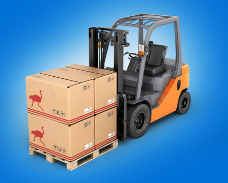 fork lifts trucks: Forklift truck with boxes  on pallet on blue gradient background 3d