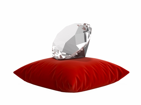 diamond on a pillow without shadow on white background 3d illustration Stock Photo