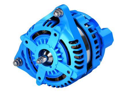 Car alternator without shadow on a white background 3D