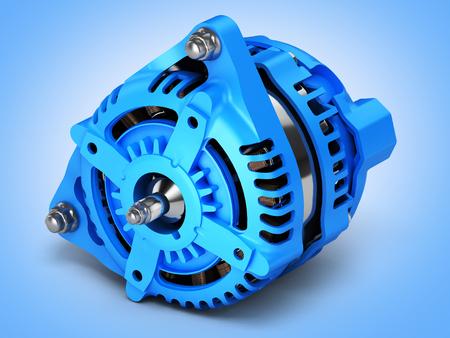 Car alternator on blue gradient background 3D Stock Photo