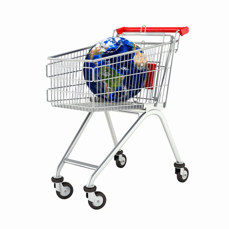 Shopping trolley globe concept supermarket shopping cart with globe without shadow on white 3d