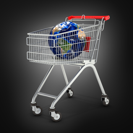 Shopping trolley globe concept supermarket shopping cart with globe on black background 3d Stock Photo
