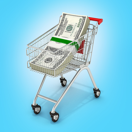 Stack of money american hundred dollar bills in the shopping trolley on blue background 3d