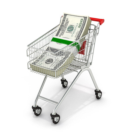 Stack of money american hundred dollar bills in the shopping trolley 3d
