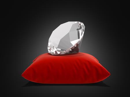 diamond on a pillow on black gradient background 3d render