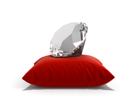 diamond on a pillow isolated on white background 3d render