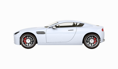 sport car vehicle side view without shadow on white background 3d