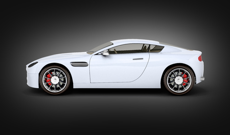 sport car vehicle side view on black gradient background 3d Stock Photo