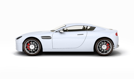 sport car vehicle side view isolated on white background 3d