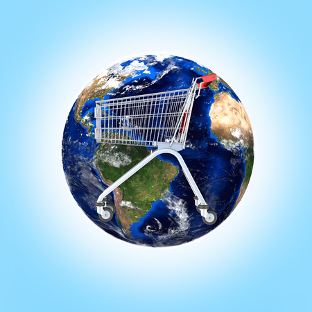 Shopping trolley globe concept supermarket shopping cart with globe on blue gradient background 3d Stock Photo