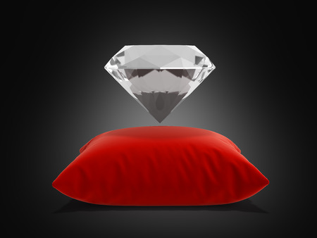 diamond on a pillow on black background 3d