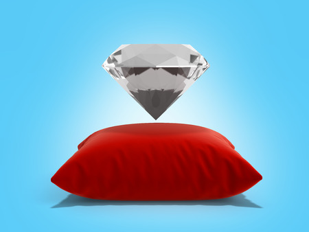 diamond on a pillow on blue background 3d