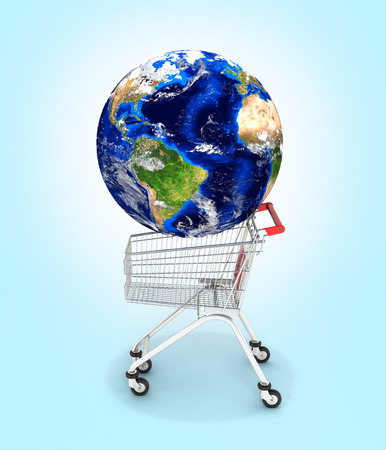 Shopping trolley globe concept supermarket shopping cart with globe on blue background 3d