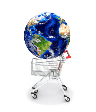 Shopping trolley globe concept supermarket shopping cart with globe on white 3d