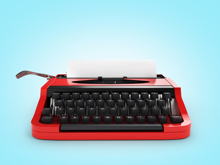 Typewriter with sheet of paper front view on blue gradient background 3d Stock Photo