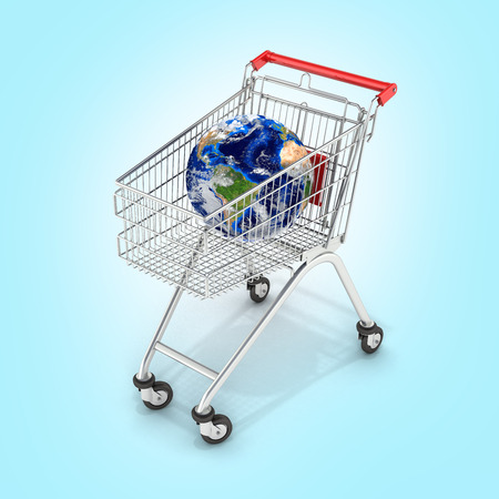 Shopping trolley globe concept supermarket shopping cart with globe on blue gradient backgtound 3d