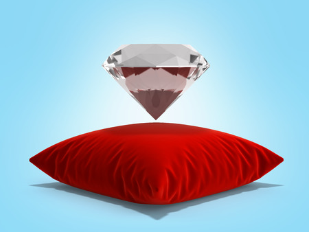 diamond on a pillow on blue gradient background 3d render