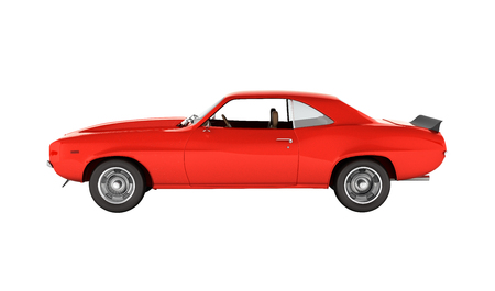 Muscle car side view without shadow on white background 3d
