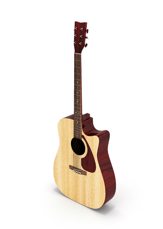Acoustic guitar perspective view isolated on white background 3d Stock Photo