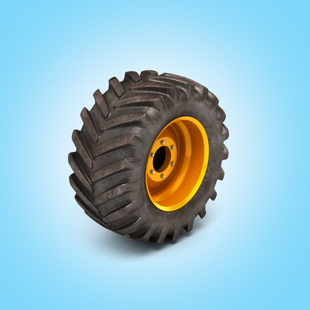 Truck wheel perspective view on blue gradient background 3d Stock Photo