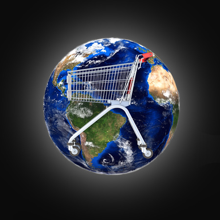 Shopping trolley globe concept supermarket shopping cart with globe on black gradient background 3d