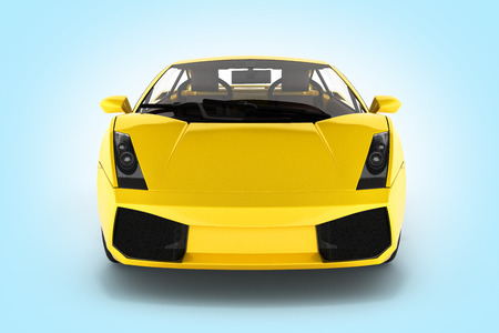 sport car vehicle front view on blue gradient background 3d