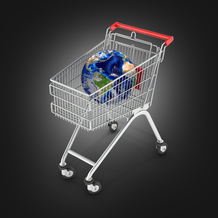 Shopping trolley globe concept supermarket shopping cart with globe on black gradient backgtound 3d